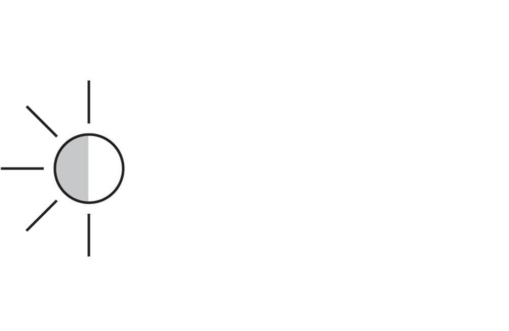 black and white sun icon
